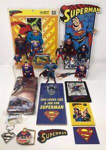 Vintage Superman Action Figures, Puzzles, Belt Buckle, Patch, Magnet Toy Lot!