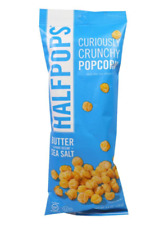 NEW HALFPOPS CURIOUSLY CRUNCHY POPCORN BUTTER & PURE SEA OCEAN SALT GLUTEN FREE