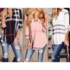 Damen Bluse LangArm Shirt T-shirts Kariert Hemd Tunika Karo Hemd V-Neck Tops
