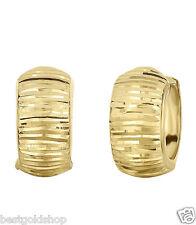 Reversible Diamond Cut or Plain Huggie Hoop Earrings Real 14K Yellow Gold