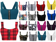 Women Ladies Boobtube Sexy Zip Crop Top Front Padded Strap Bralet Bra Top Vest