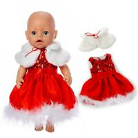 Fit 17 Inch Baby New Born 43cm Doll Clothes Plush Christmas Suit Birthday Gift