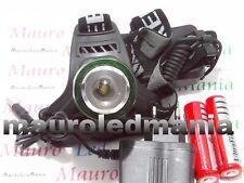 Torcia Testa Led Zoom Ricaricabile CREE XM-L T6 Tattica/militare 800 Lumen Pavia