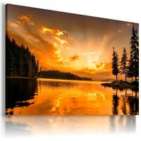 SUNSET RIVER FOREST TREES View Canvas Wall Art Picture Large SIZES  L193  MATAGA