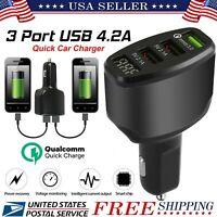 3 Port USB 4.2A Fast Car Charger 36W Qualcomm Quick Charge QC 3.0 iPhone Samsung