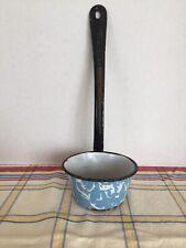 Vintage Light Blue Swirl Graniteware Enamelware Long Handle Kitchen Ladle Dipper