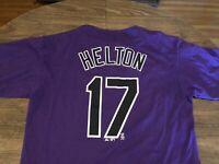 Todd Helton Colorado Rockies MLB Majestic Large Purple T Shirt