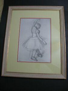 Vintage Edgar Degas original French print lithograph  signed ( framed 16 x 20 )