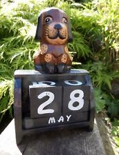 Fair Trade Hand Carved Made Wooden Animal Dog Blocks Desk Perpetual Calendar