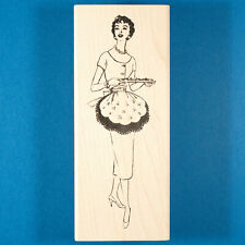 Dinner Party Hostess Rubber Stamp by Paula's Kit Club 1950s 50s Woman Housewife