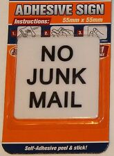 NO JUNK MAIL New Plastic Self Adhesive Stick on Letterbox Mailbox Sign 55x55x2mm