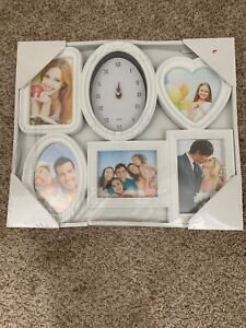 White Collage 5 Frame And Clock Decorative Frame