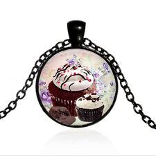 Chocolate Cupcake Black Dome glass Photo Art Chain Pendant Necklace