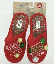 Deluxe by Dearfoams Unisex Christmas Theme Memory Foam Slippers