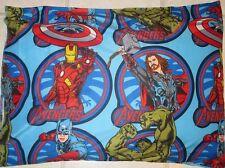 Marvel AVENGERS PILLOWCASES Iron Man CAPTAIN AMERICA The HULK Comics Fabric, NEW