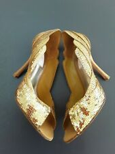 JLo gold sequin 11cm heel peep toe shoes size 38 /5 in box