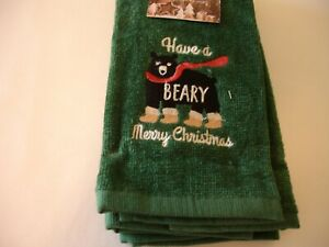 New! S/2 Embroidered Christmas Wildlife Black Bear Terry Cotton Fingertip Towels