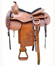 "Western Natural Reining/Pleasure Trail Hand Carved 17"" Saddle"