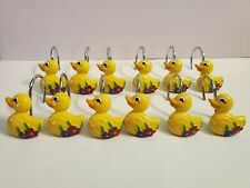 New listing Decorative Duck with Flower set of 12 Shower Hooks