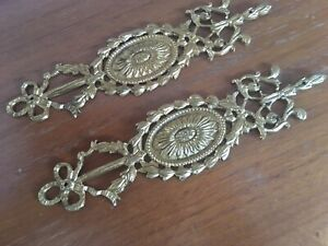 Pair Antique French Cast Brass / Bronze Door Finger Plates Makers Stamp On Back