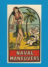 "VINTAGE ORIGINAL 1946 GOLDFARB ""NAVAL MANEUVERS"" SEXY HULA GIRL PINUP DECAL ART"