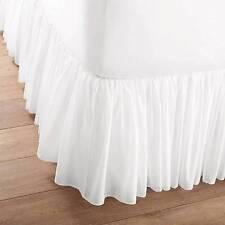 WHITE VOILE Full Double BEDSKIRT :  PRINCESS BED SKIRT DUST RUFFLE SHEAR TUTU