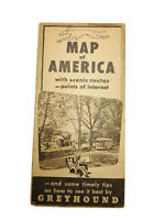VTG Brochure 1946 Greyhound Bus MAP of AMERICA w/Scenic Routes-Points Interest