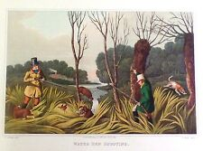"Alken's Sporting Print- ""WATER HEN SHOOTING"" - Hand-Colored Aquatint - 1820"