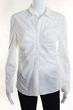 Christian Dior White Long Sleeve Ruched Button Front Collared Shirt Size 6