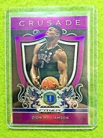 ZION WILLIAMSON PRIZM ROOKIE CARD JERSEY #1 DUKE RC PELICANS 2019 Crusade PURPLE