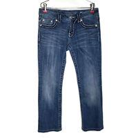 Miss Me Irene Boot Denim Jeans Women Size 29 30X27 Back Flap Button Pockets