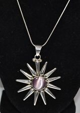 """Taxco Heavy Sterling Silver 925 Pink Cat'S Eye Star Pendant W 16.5"""" Necklace"""