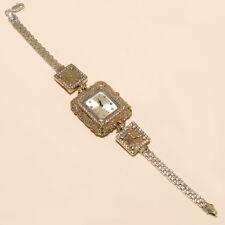 925 Sterling Silver Valentine Jewelry Gift Women Emerald White Topaz Wrist Watch