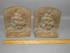 ANTIQUE PAIR NAUTICAL SHIP SOLID BRONZE BOOK ENDS