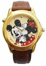 Disney's Mickey & Minni e Musical Analog Watch / Gold Case / leather strap