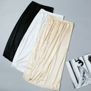 Women Satin Skirt Faux Silk Petticoat Underskirt Under Dress Half Slip Midi