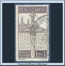 1923 San Marino Pro Volontari L. 1 bruno n. 97 Usato B