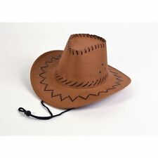 44137a11c03de WESTERN LEATHER STITCH COWBOY HAT - kids childs fancy dress costume  accessory