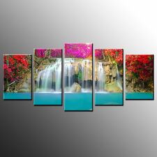 FRAMED Canvas Print Picture Wall Decor Colorful Waterfall Wall Art Painting-5pcs
