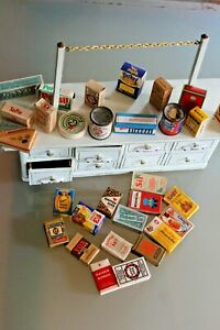 Toy Old Counter 8 Drawer Grocery Miniature +30 Boxes Years 1930/50