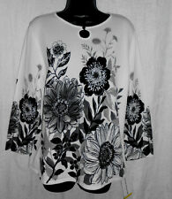 Alfred Dunner Knit Top Size M NWT White Floral Nylon Blend Long Sleeve Beads $62