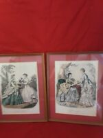 VINTAGE LE MODE ILLUSTREE PARIS VICTORIAN FASHION PRINTS SET OF 2 FRAMED