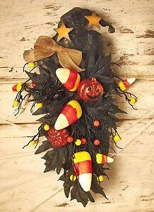 Witch Swag Wreath Wall Door Hanger Candy Corn Pumpkins Halloween 20x9 NIB