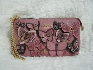 Coach Leather Butterfly Large Wristlet (Rose) - NWT (2955)