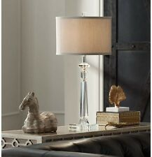 Modern Crystal Table Lamp Desk Light Lighting Column Style Drum Shade Pedestal