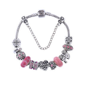 WOW Silver BEST MOM Pink Murano Spacer Beads Charm European Bracelet