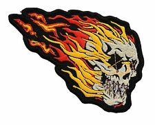 SKULL ON FIRE BIKER MC PATCH