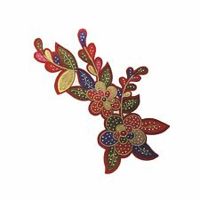 Red Base Multi Colour Petal Flower (Iron On) Embroidery Applique Patch
