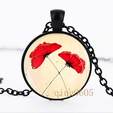 Red poppies necklace photo Glass Dome black Chain Pendant Necklace wholesale