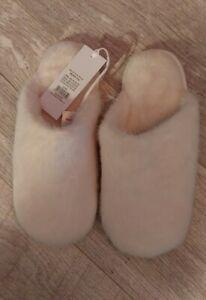 The White Company Slippers/Mule Womens Fluffy Cream Medium 5/6 EUR 38 Faux Fur